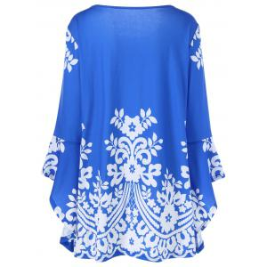 Plus Size Flare Sleeve Tiny Floral T-Shirt - BLUE 4XL