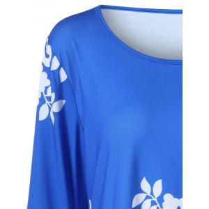 Plus Size Flare Sleeve Tiny Floral T-Shirt - BLUE 5XL