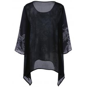 Plus Size Printed Asymmetric Blouse - BLACK 4XL