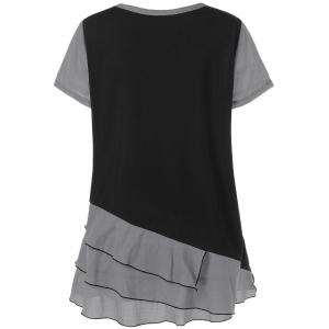 Plus Size Colorblock Layered Flounce T-Shirt -