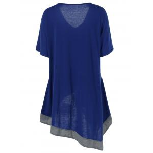 Plus Size V Neck Long Asymmetric T-Shirt - DEEP BLUE XL