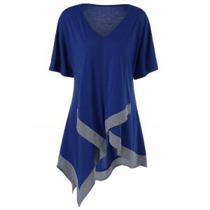 Plus Size V Neck Long Asymmetric T-Shirt