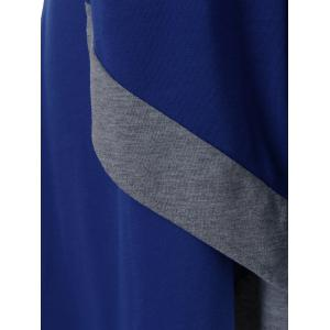 Plus Size V Neck Long Asymmetric T-Shirt - DEEP BLUE 5XL