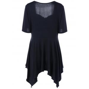 Plus Size Ruched Front Sweetheart Neck T-Shirt - BLACK 4XL