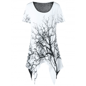 Plus Size Tree Print Asymmetrical T-Shirt - White And Black - 5xl