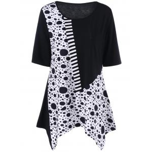 Plus Size Polka Dot Panel Asymmetric T-Shirt - White And Black - 5xl