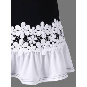 Bell Sleeve Lace Panel Flounce Long Top -