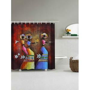 Ethnic Mural Art Printed Anti-bacteria Shower Curtain - COLORMIX 180*180CM