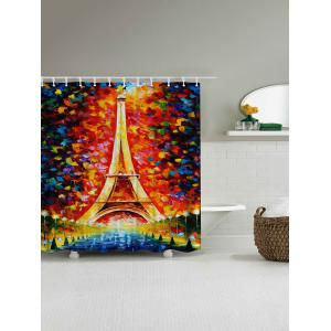 Oil Painting Eiffel Tower Mildew Resistant Shower Curtain - COLORMIX 150*180CM