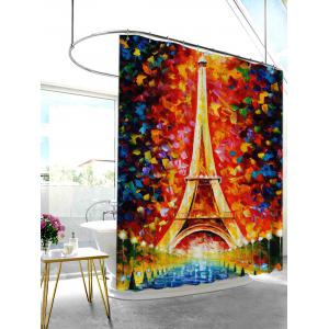 Oil Painting Eiffel Tower Mildew Resistant Shower Curtain - COLORMIX 180*200CM
