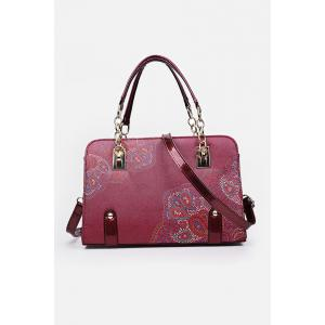 Metal Detail Flower Print Handbag - Red - 8