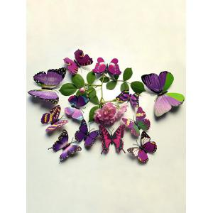 12 Pcs Simulation Butterfly Home Decor Wall Stickers - Purple - 60*90cm