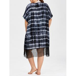 Plus Size Tie Dye Fringe Long Beach Cover Up Kimono