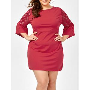 Plus Size Lace Hollow Out Bell Sleeve Dress