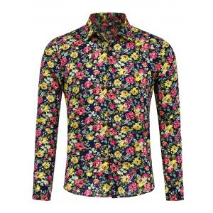 Long Sleeve Peony Pattern Shirt