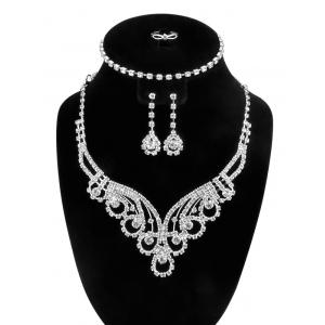 Water Drop Floral Zircon Jewelry Set - Silver - One-size