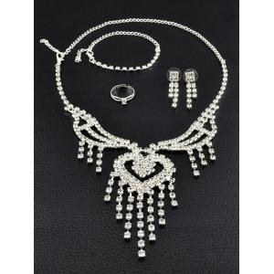 Rhinestone Hollow Out Heart Fringe Jewelry Set - SILVER