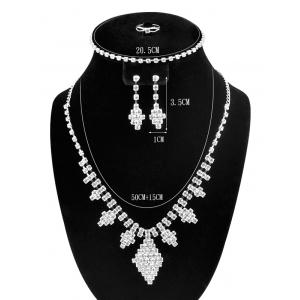 Artificial Diamond Rhombus Jewelry Set - SILVER