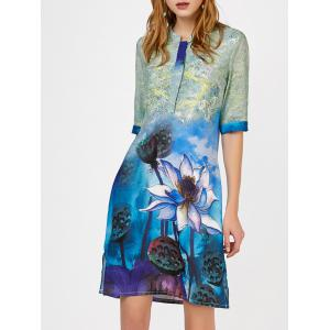 Floral Print Slit Notched Collar Shift Dress