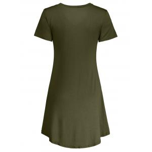 Casual Short Sleeve V Neck Swing Dress - ARMY GREEN 2XL