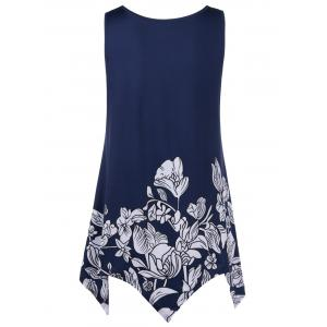 Long Flower Asymmetric Tank Top - DEEP BLUE XL
