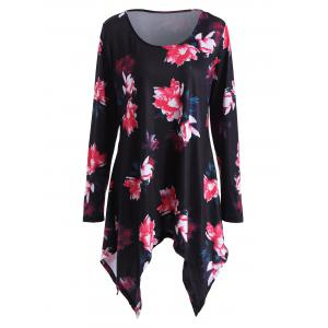 Floral Plus Size Tunic Top - Black - 3xl