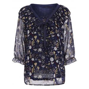 Printed Chiffon Plus Size Top - Deep Blue - 5xl