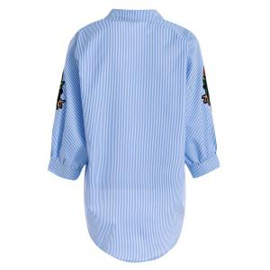 Plus Size Floral Pinstripe Embroidered Striped Shirt - BLUE/WHITE 3XL