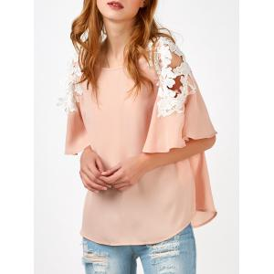 Chiffon Bell Sleeve Lace Panel Blouse