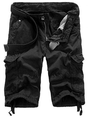 Buy Loose Fit Straight Leg Multi-Pocket Lacing Cuffs Zipper Fly Shorts For Men BLACK 29