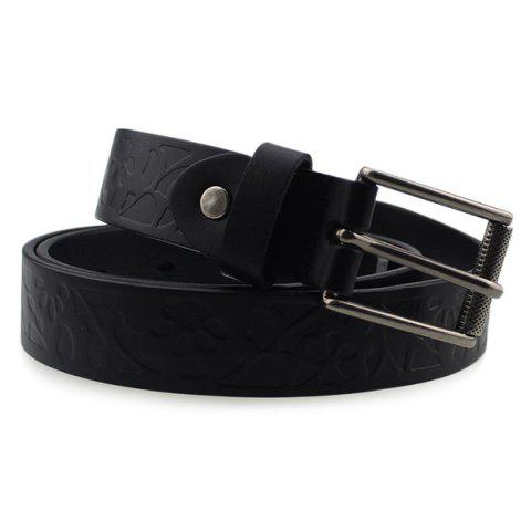 Chic Pin Buckle Wide Belt with Floral Embossed - BLACK  Mobile