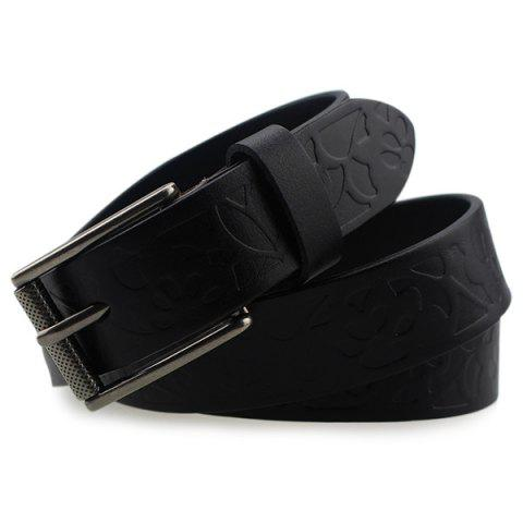 Cheap Pin Buckle Wide Belt with Floral Embossed - BLACK  Mobile