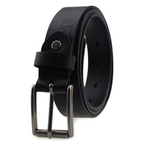 Outfit Pin Buckle Wide Belt with Floral Embossed - BLACK  Mobile