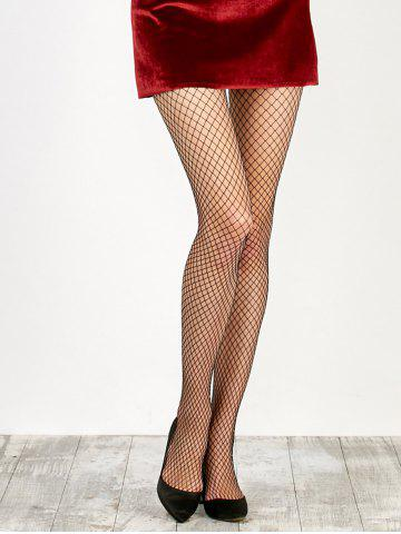 Store Medium Weave Design Fishnet Pantyhose - ONE SIZE BLACK Mobile
