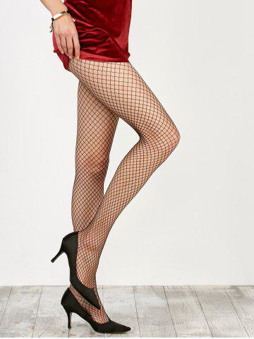 Chic Medium Weave Design Fishnet Pantyhose - ONE SIZE BLACK Mobile