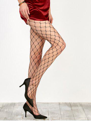 Store Large Loop Design Fishnet Pantyhose BLACK ONE SIZE