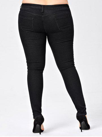 Store Plus Size Skinny Jeans with Pocket - 5XL BLACK Mobile