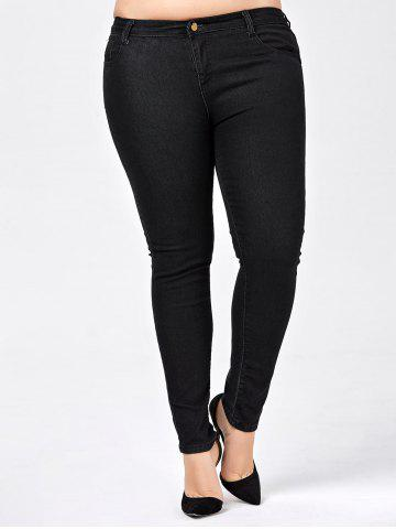 Sale Plus Size Skinny Jeans with Pocket - 5XL BLACK Mobile
