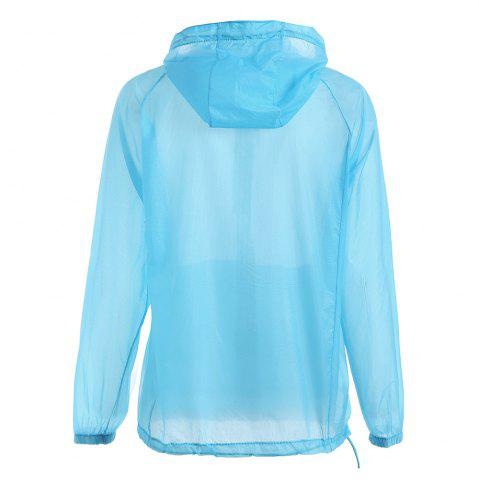 Outfits Ultra Thin Hooded Sun Protection Raglan Sleeve Skin Windbreaker - ONE SIZE WINDSOR BLUE Mobile