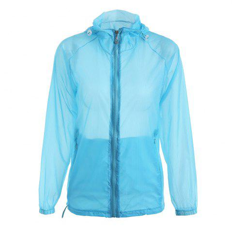 Discount Ultra Thin Hooded Sun Protection Raglan Sleeve Skin Windbreaker - ONE SIZE WINDSOR BLUE Mobile