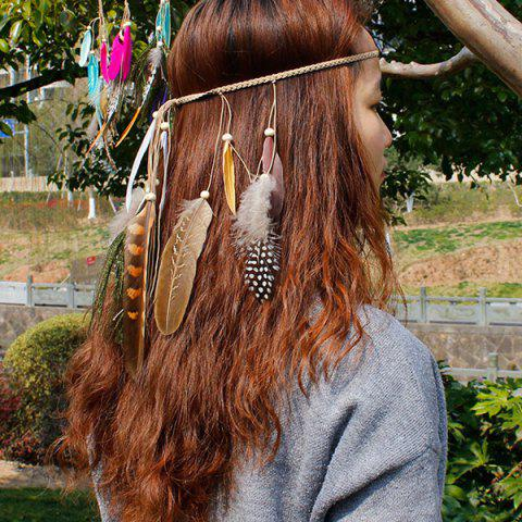 Sale Peacock Feather Boho Beaded Braided Hairband COFFEE