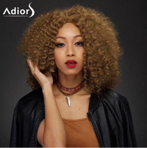 Adiors Medium Middle Part Towheaded Curly Synthetic Wig - YELLOW OCHER