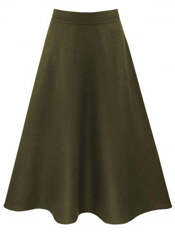 High Waisted A Line Skirt with Pockets - ARMY GREEN M