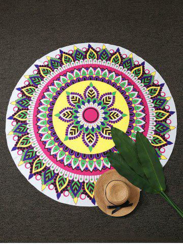 Unique Mandala Lotus Print Round Beach Throw COLORMIX ONE SIZE