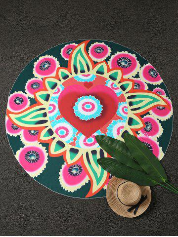 Round Throw Plage Floral Cover Multicolore