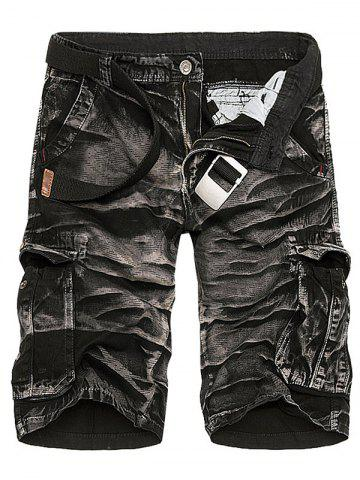 Cheap Camouflage Tie Dye Multi Pockets Cargo Shorts - 36 BLACK CAMOUFLAGE Mobile