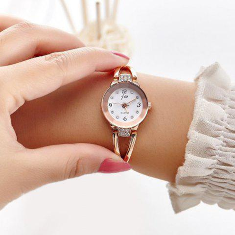 JW Alloy Strap Rhinestone Wrist Watch - Gold And White
