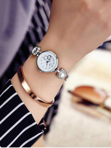 JW Alloy Band Rhinestone Flower Bracelet Watch - Silver And White