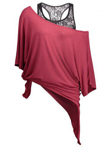 Hot Handkerchief Batwing T-Shirt with Lace Tank Top - M WINE RED Mobile