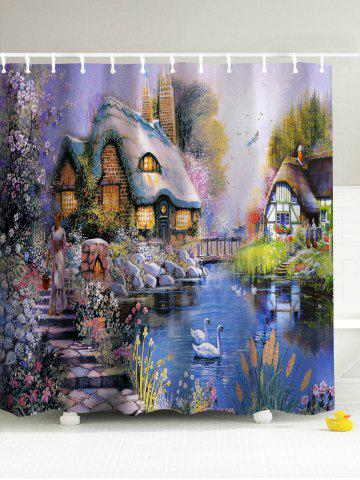 Online Beauty Countryside Painting 3D Shower Curtain - 180*180CM COLORMIX Mobile
